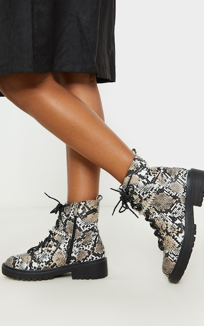 Snake Diamante Detail Hiker Ankle Boots