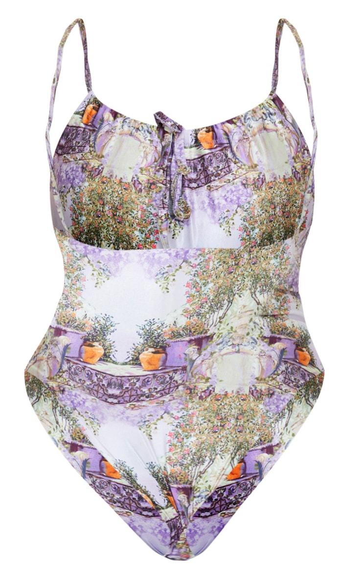 Plus Purple Garden Scene Drawstring Ruched Swimsuit 6