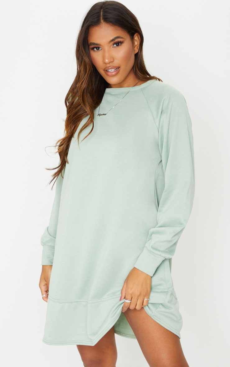 Sage Green Oversized Sweat Jumper Dress 1