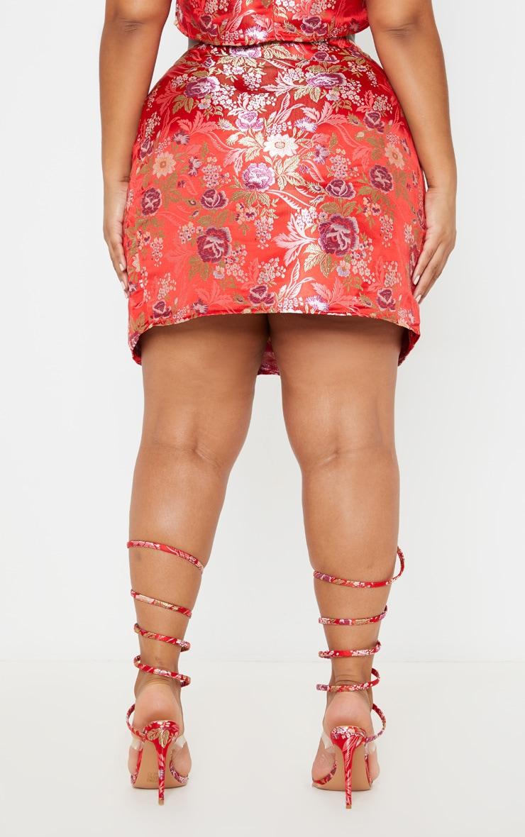 Plus Red Oriental Wrap Detail Mini Skirt 4