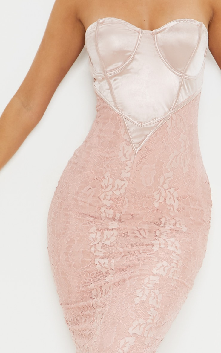 Dusty Pink Satin Bustier Lace Midi Dress 5
