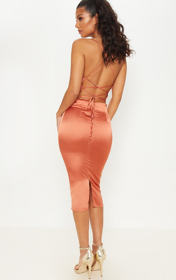 Rust Strappy Back Cowl Neck Satin Midi Dress 1