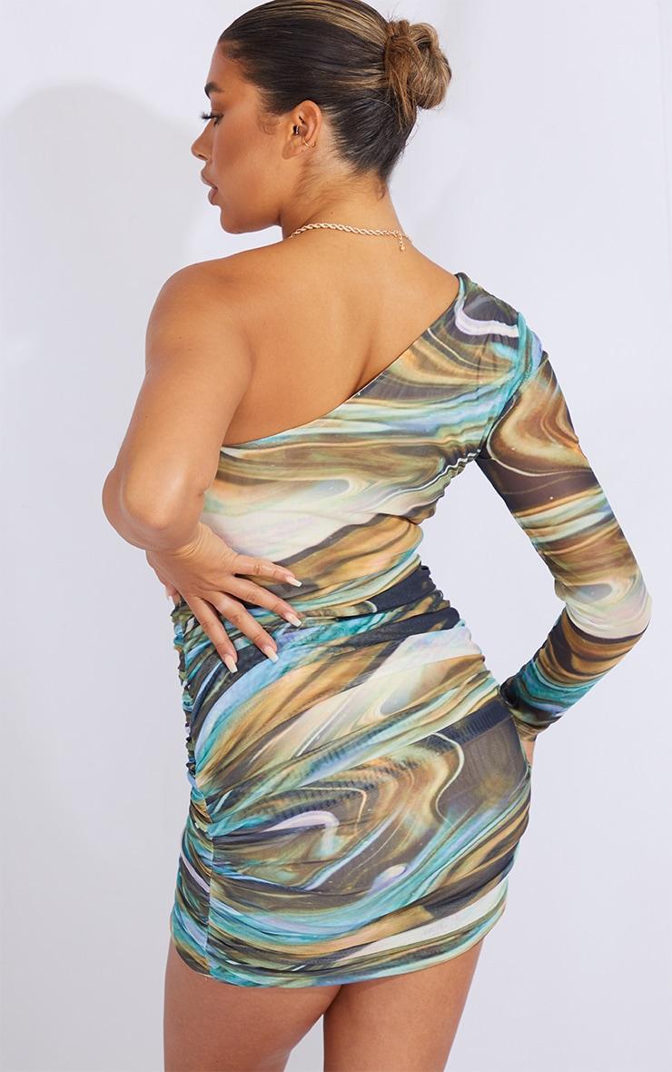 Multi Marble Print Mesh One Shoulder Detail Bodycon Dress 2