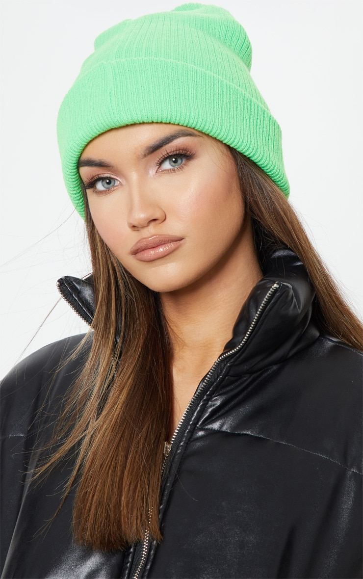 Neon Green Ribbed Knitted Beanie