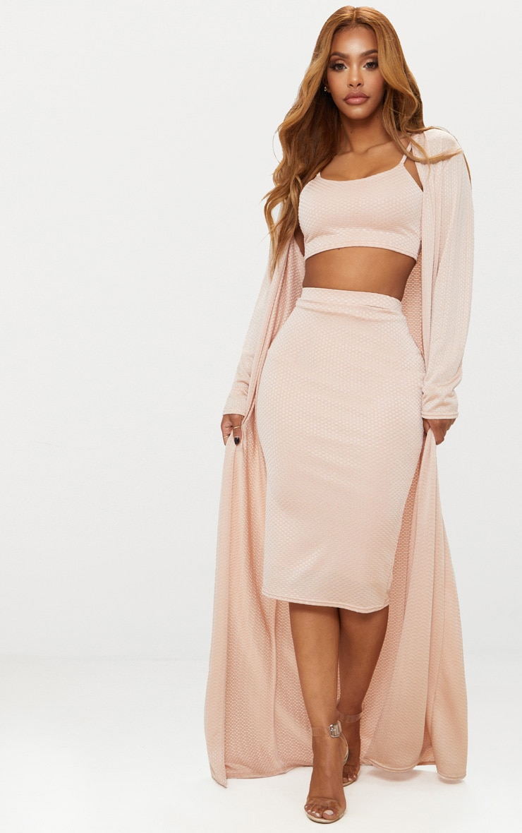Shape Champagne Textured Duster Coat 4