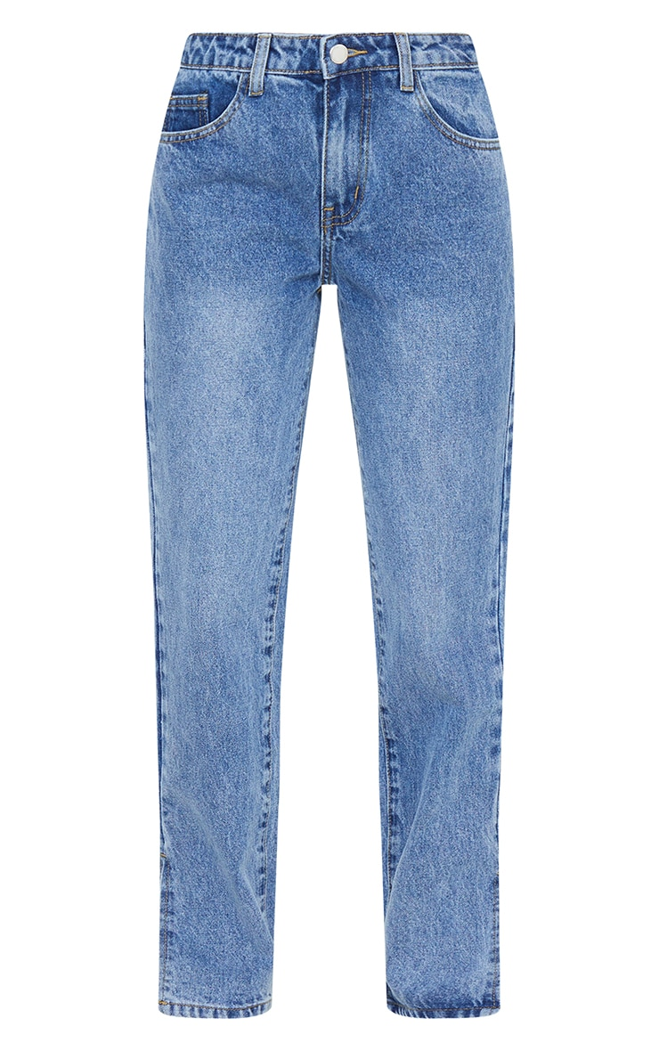 Petite Mid Blue Low Rise Split Hem Jeans 5