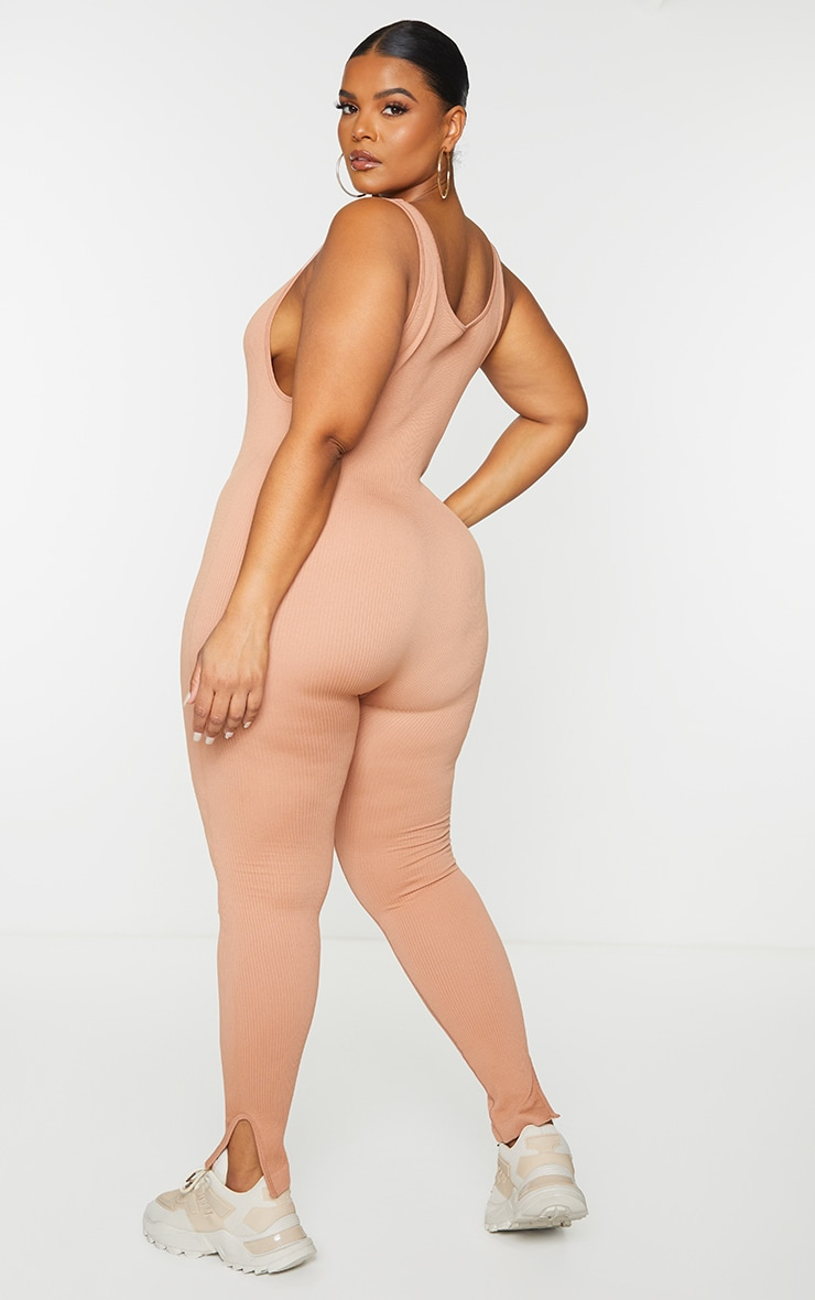 Plus Taupe Structured Contour Scoop Neck Jumpsuit 2