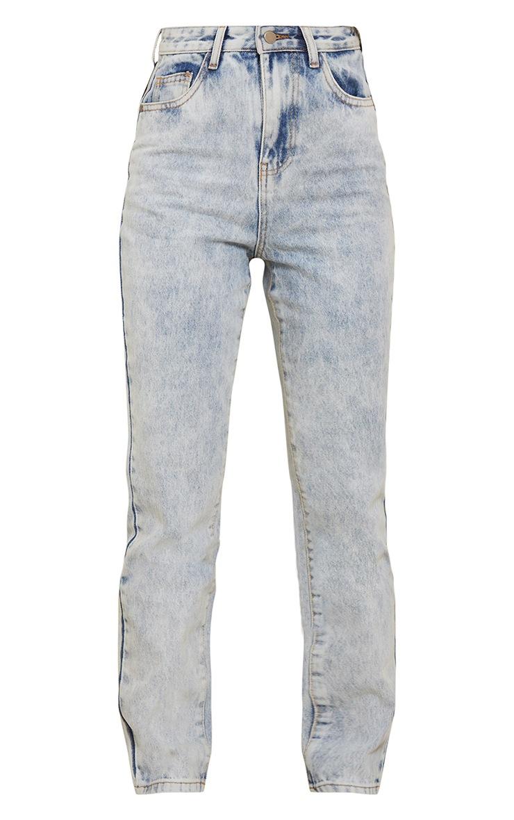 Acid Blue Wash Long Leg Straight Jeans 5