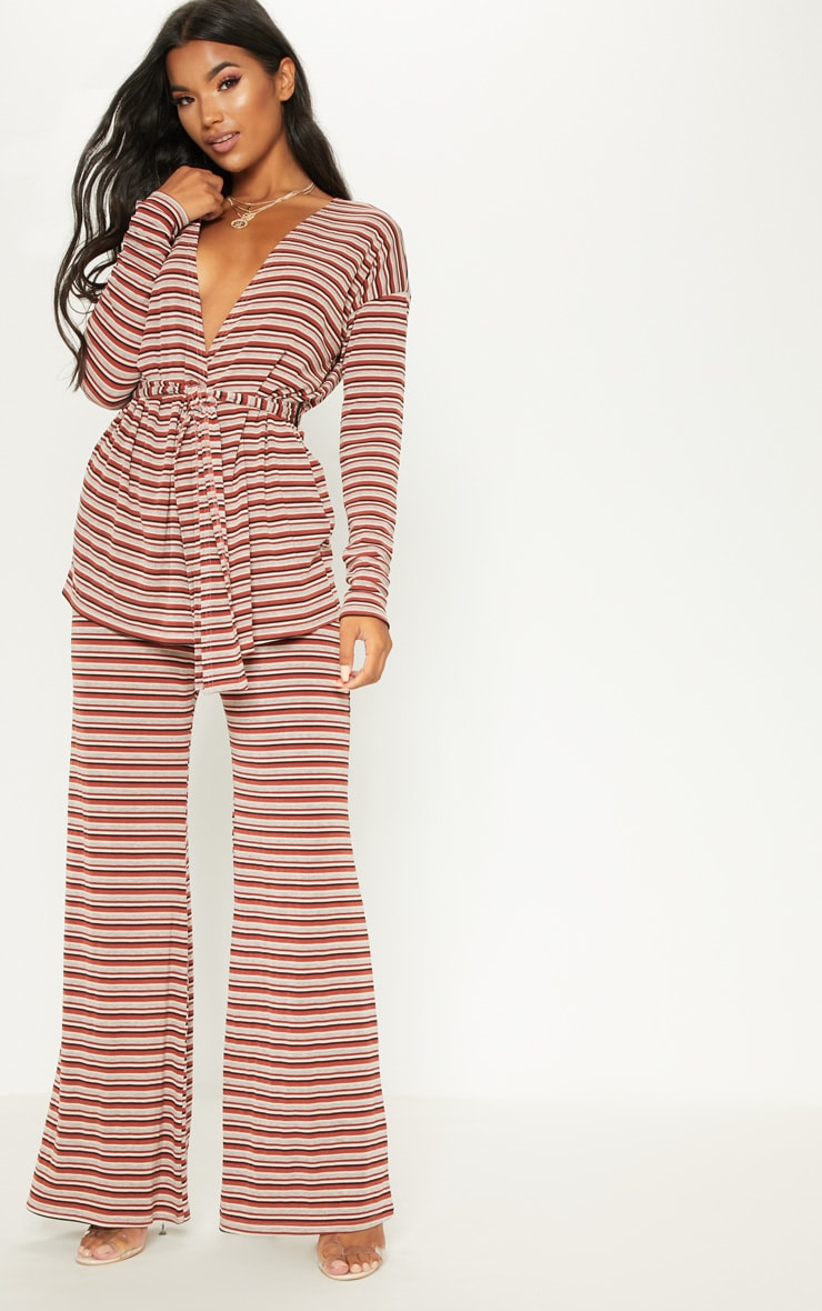 Rust Ribbed Knitted Wide Leg Trouser