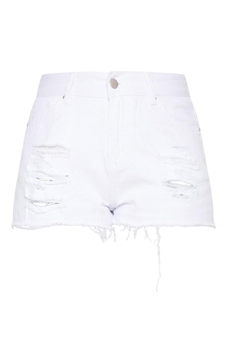 White Bum Rip Denim Hot Pants 3