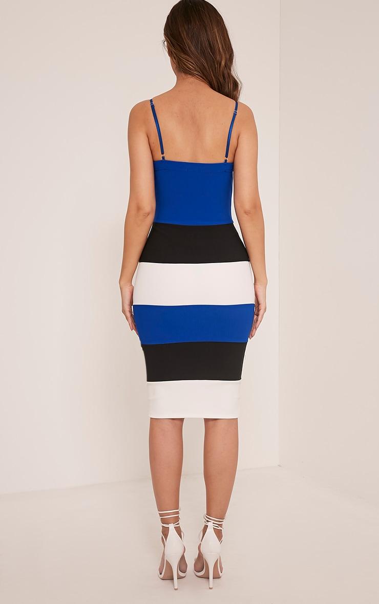 Ebony Cobalt Contrast Colour Block Bandage Dress 2