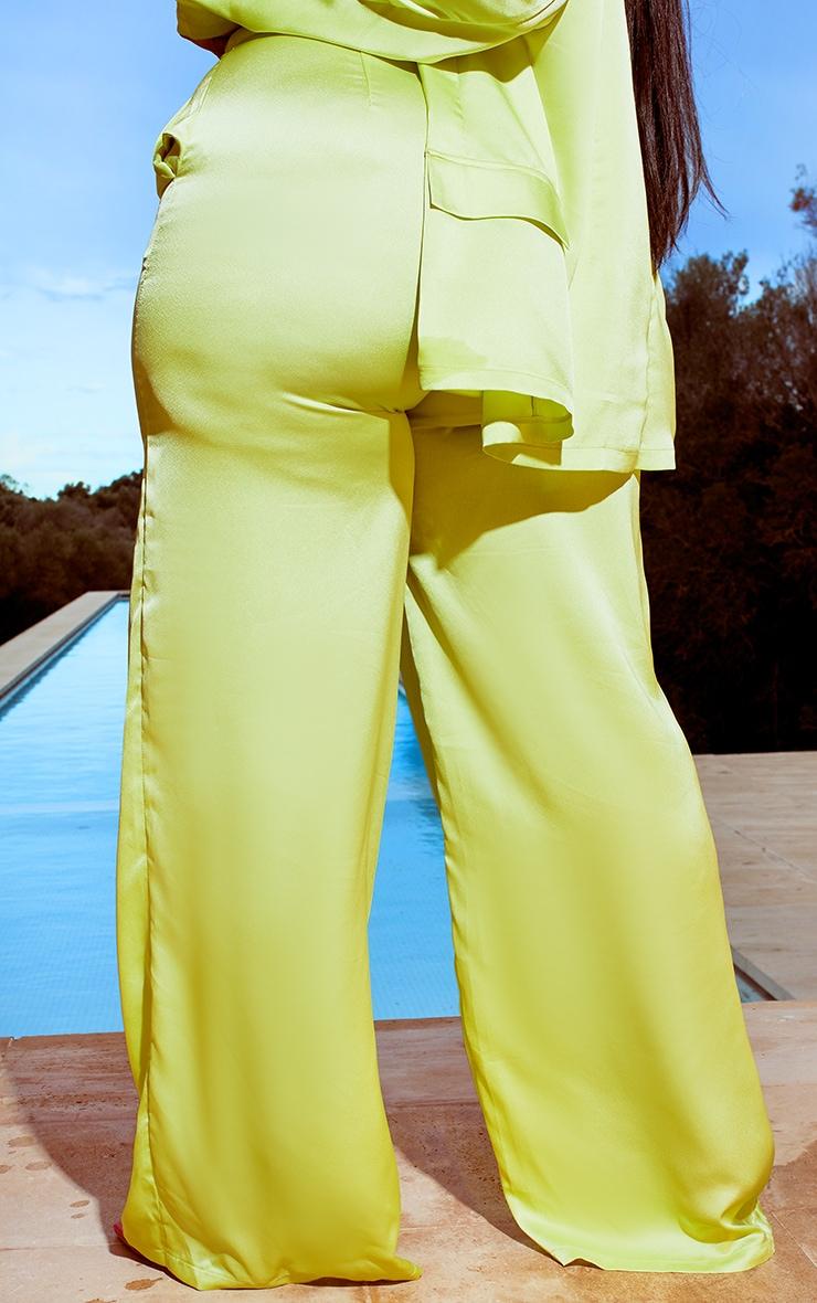 Plus Lime Satin Wide Leg Pants 3