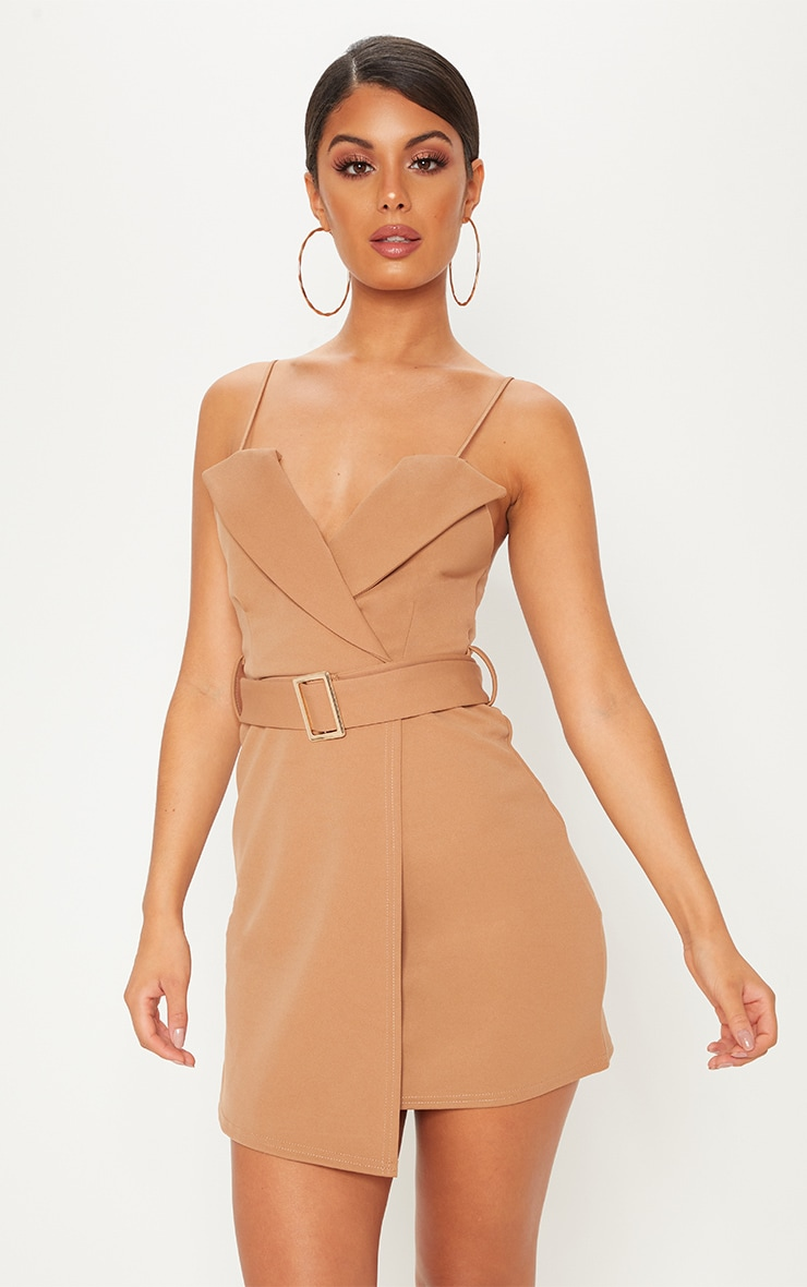 Camel Tux Detail Belted Wrap Bodycon Dress