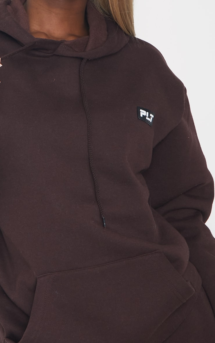 PRETTYLITTLETHING Tall Chocolate Badge Detail Oversized Hoodie 4