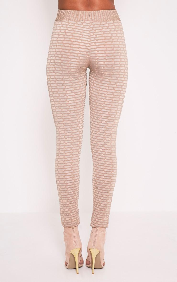 Aleccia leggings taille haute gris pierre en maille gaufrée 6