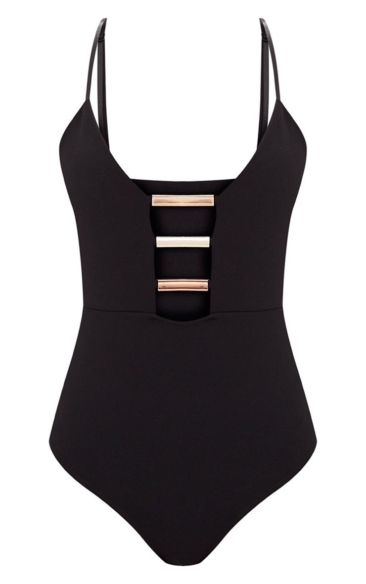 Black Gold Bar Detail Plunge Thong Bodysuit 3