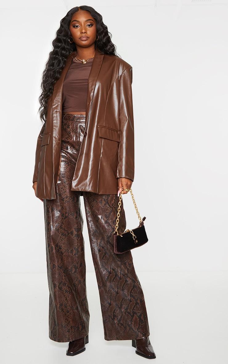 Chocolate Faux Leather Oversized Dad Blazer 3