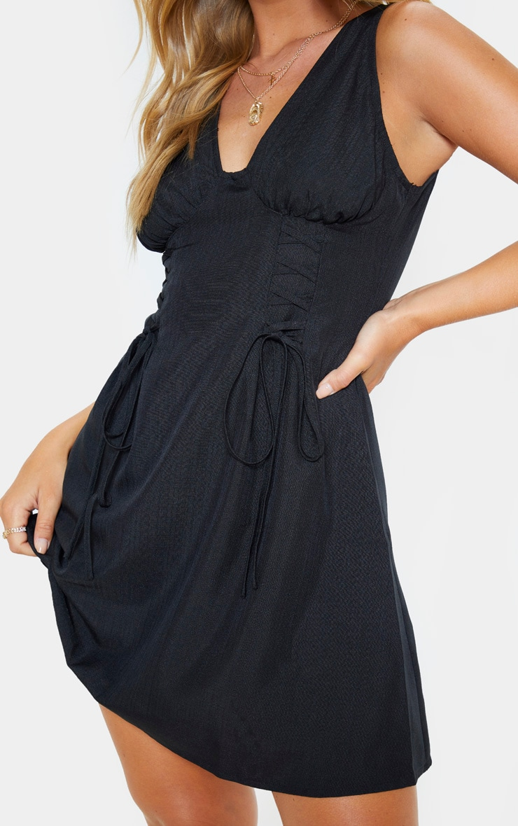 Black Woven Lace Up Cup Detail Shift Dress 5