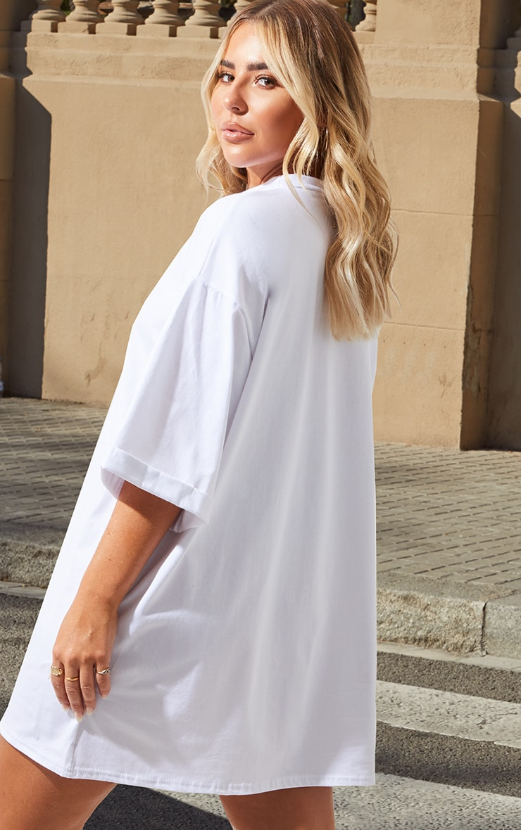 Petite White I Am Enough Oversized Slogan T-Shirt Dress 2