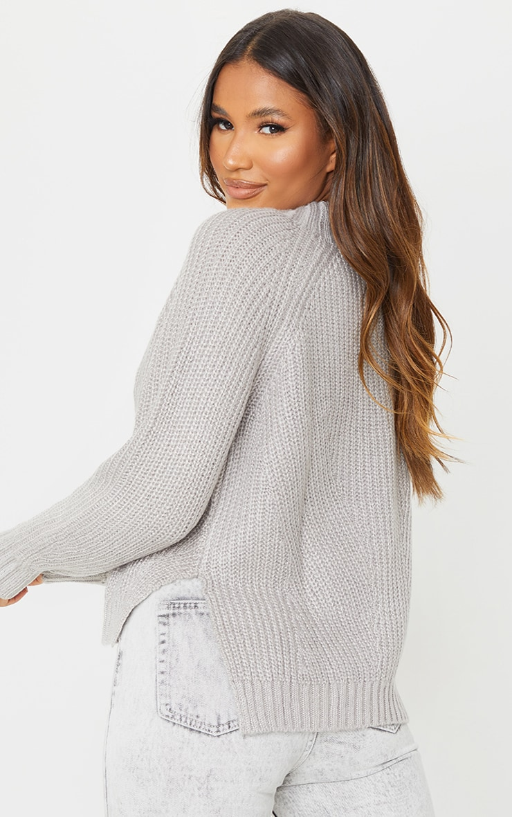Grey Soft Knit Balloon Sleeve Funnel Neck Sweater 2