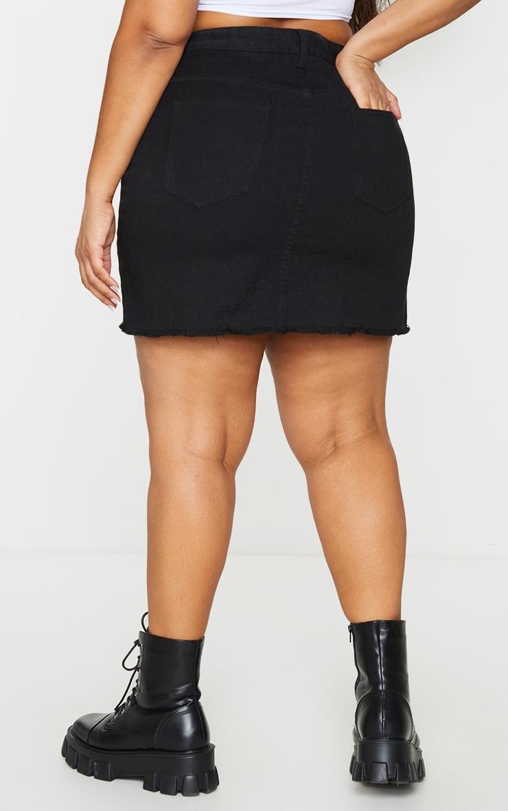 Plus Basic Black Denim Skirt 3
