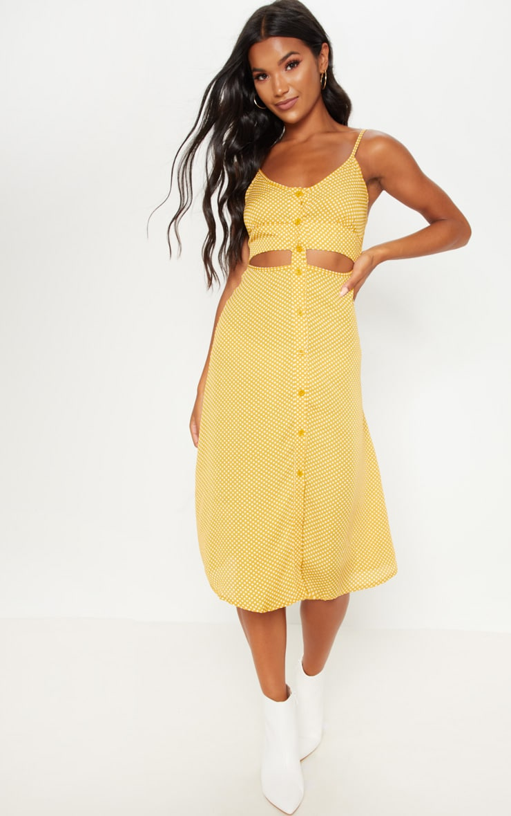 Mustard Printed Button Up Cut Out Midi Dress 4