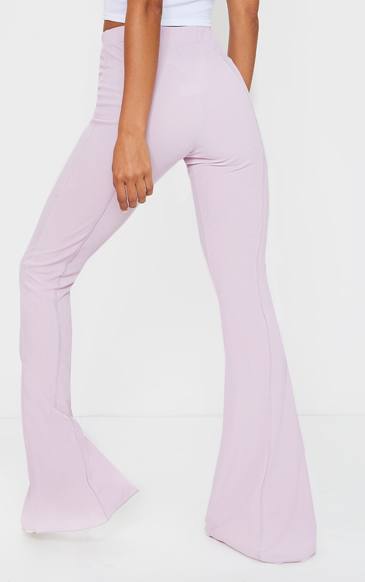 Lilac Contrast Seam Ribbed Flare Pants 3