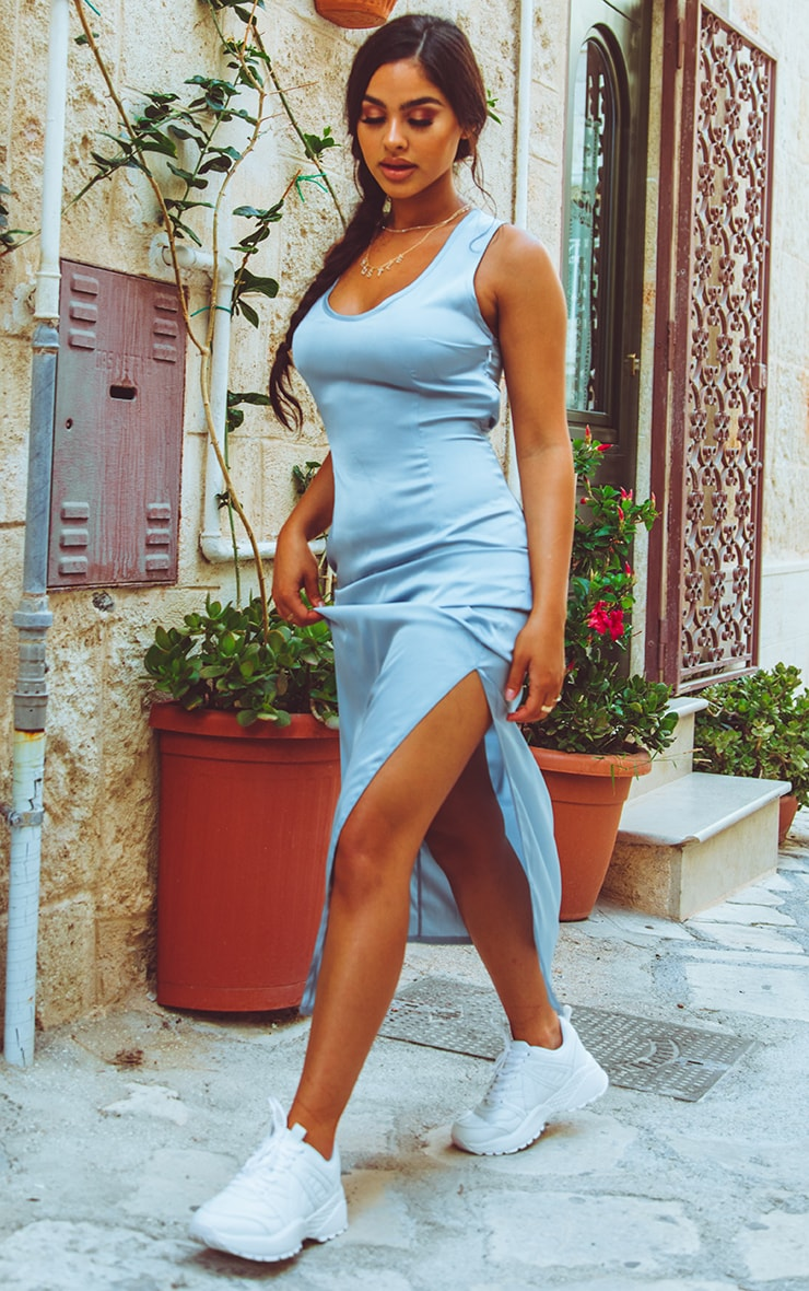 Baby Blue Satin Fitted Maxi Dress 4