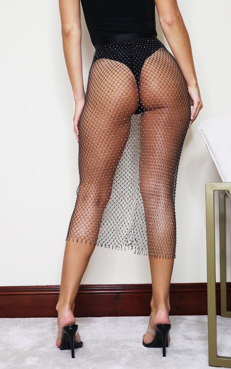 Black Mesh Diamante Midaxi Skirt 3
