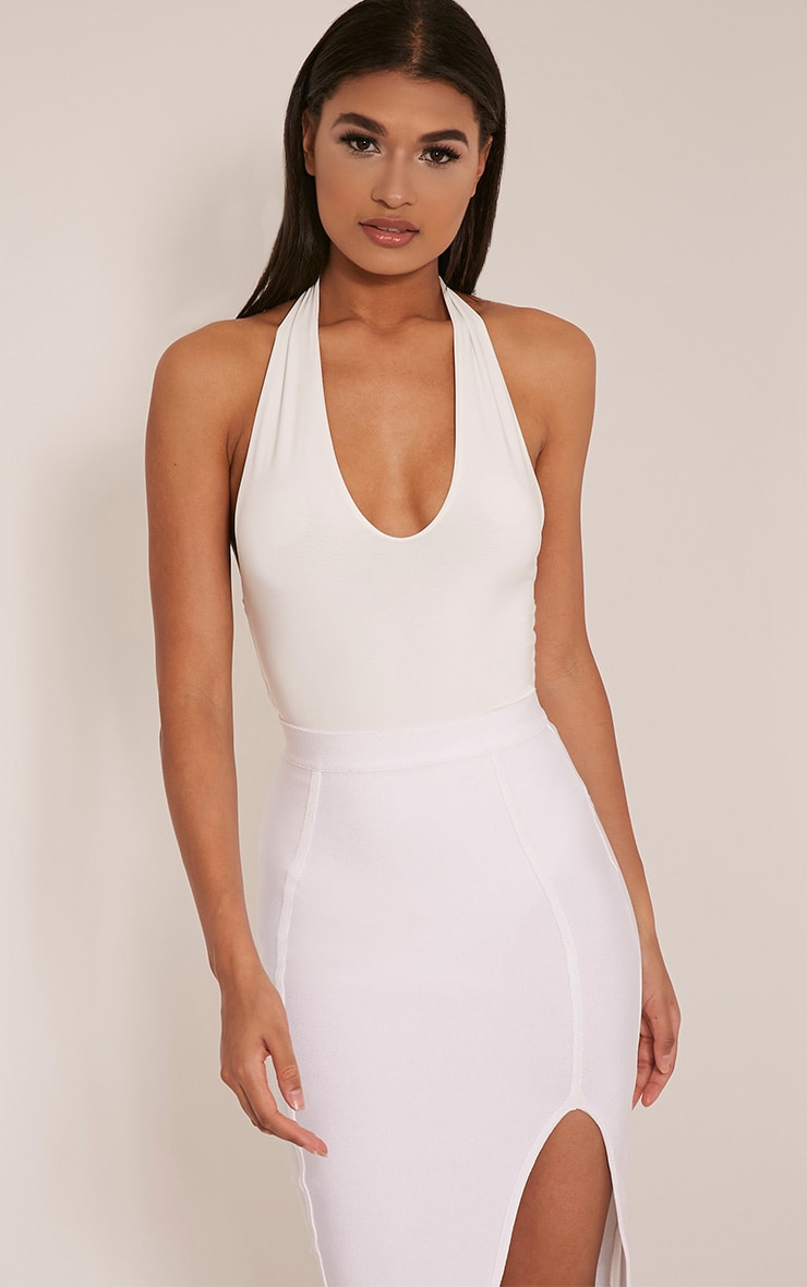 Riley Cream Slinky Halterneck Bodysuit 1