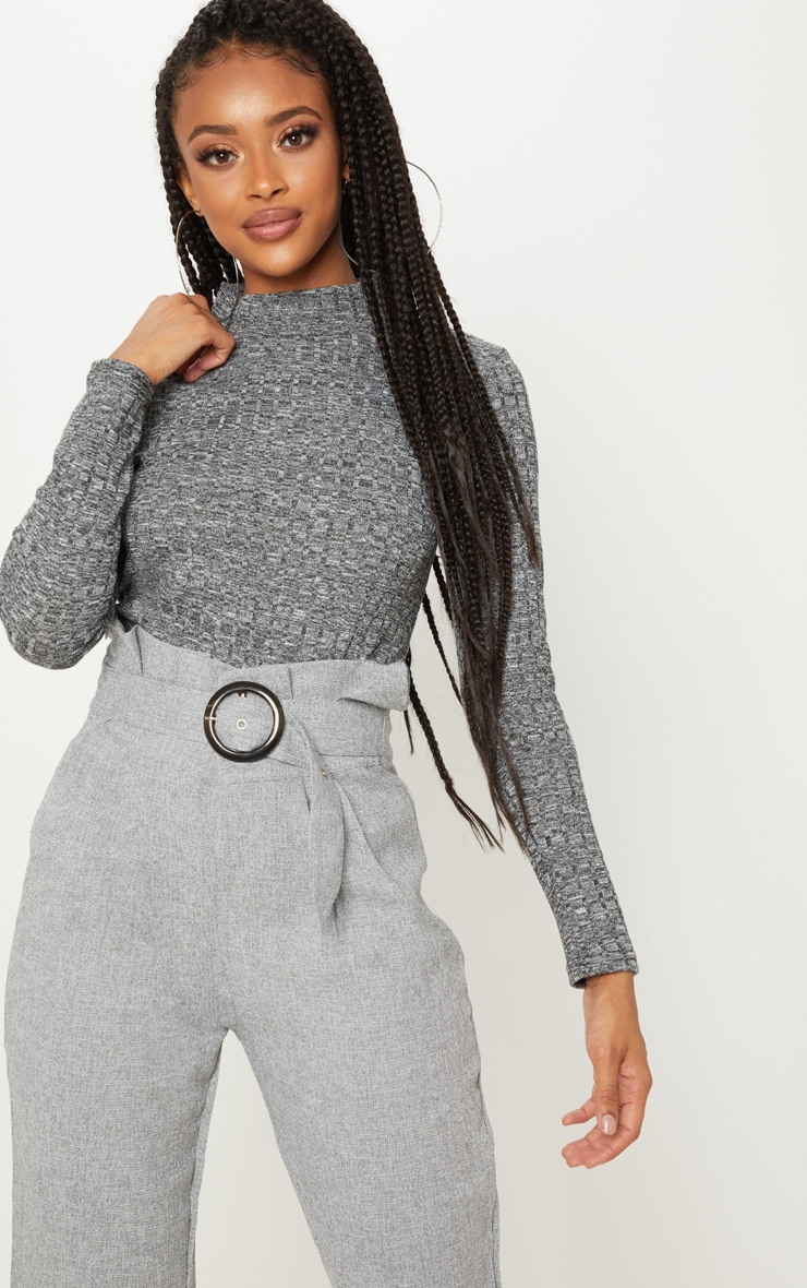 grey long sleeve high neck top