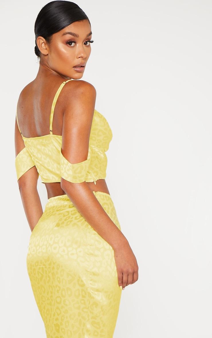 Yellow Satin Jacquard Leopard Print Bardot Strappy Crop Top 2