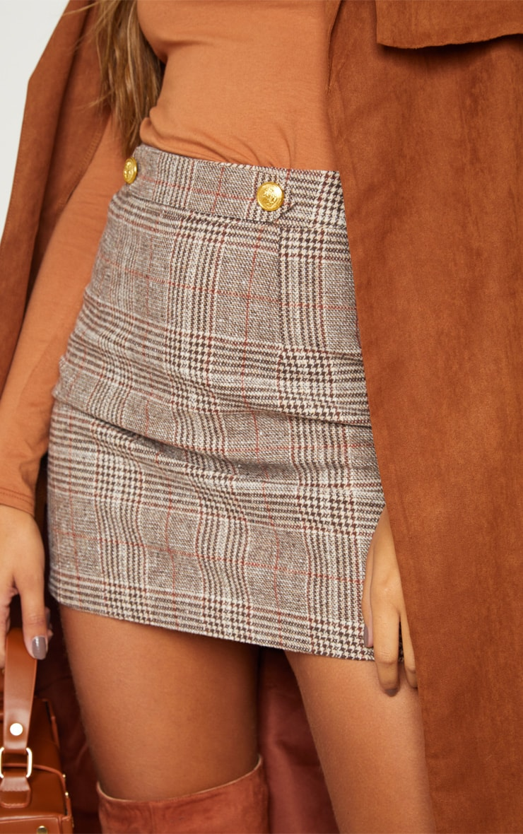 Brown Check Button Detail Mini Skirt 5