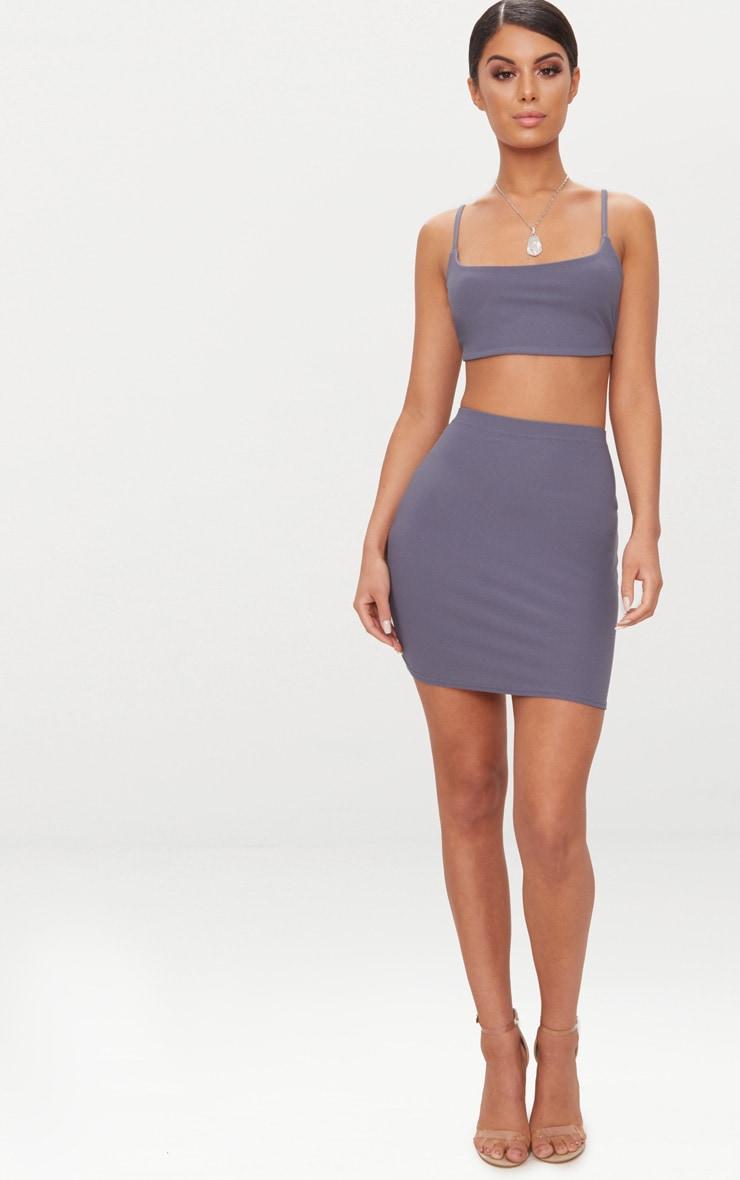 Dusky Blue Mini Skirt  5