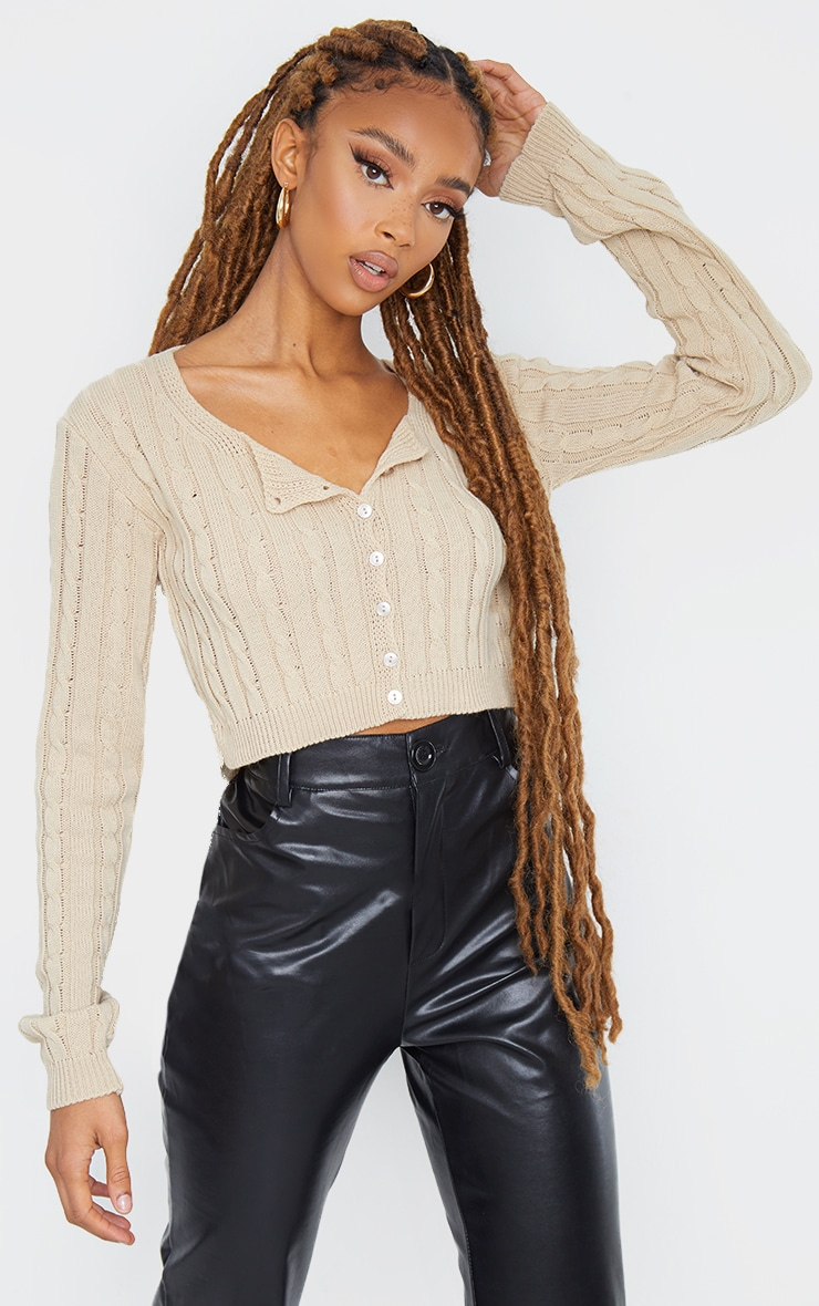Stone Cable Button Up Cropped Cardigan 1