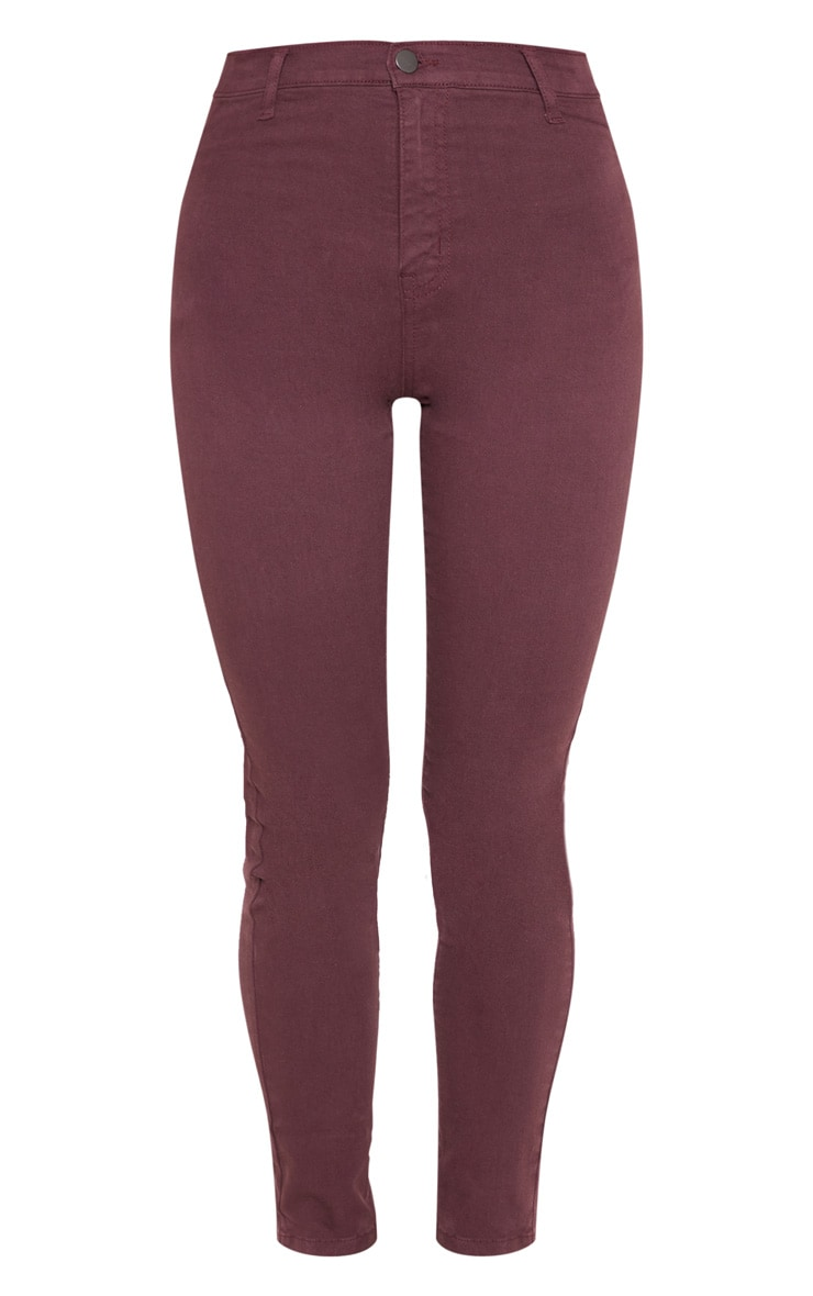 Burgundy Disco Skinny Jeans 3