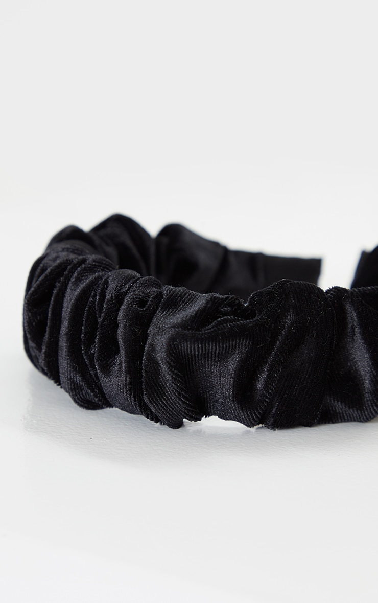 Black Velvet Ruched Headband 3