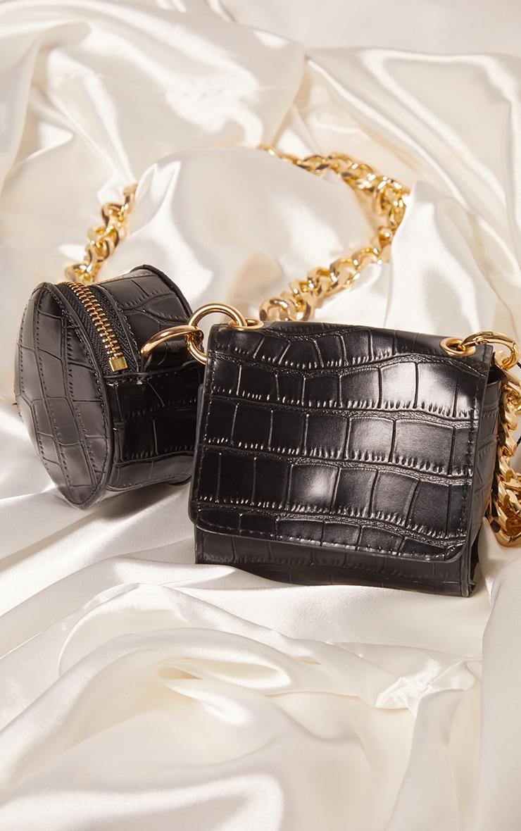 Black Croc Multi Pocket Chunky Chain Cross Body Bag 4