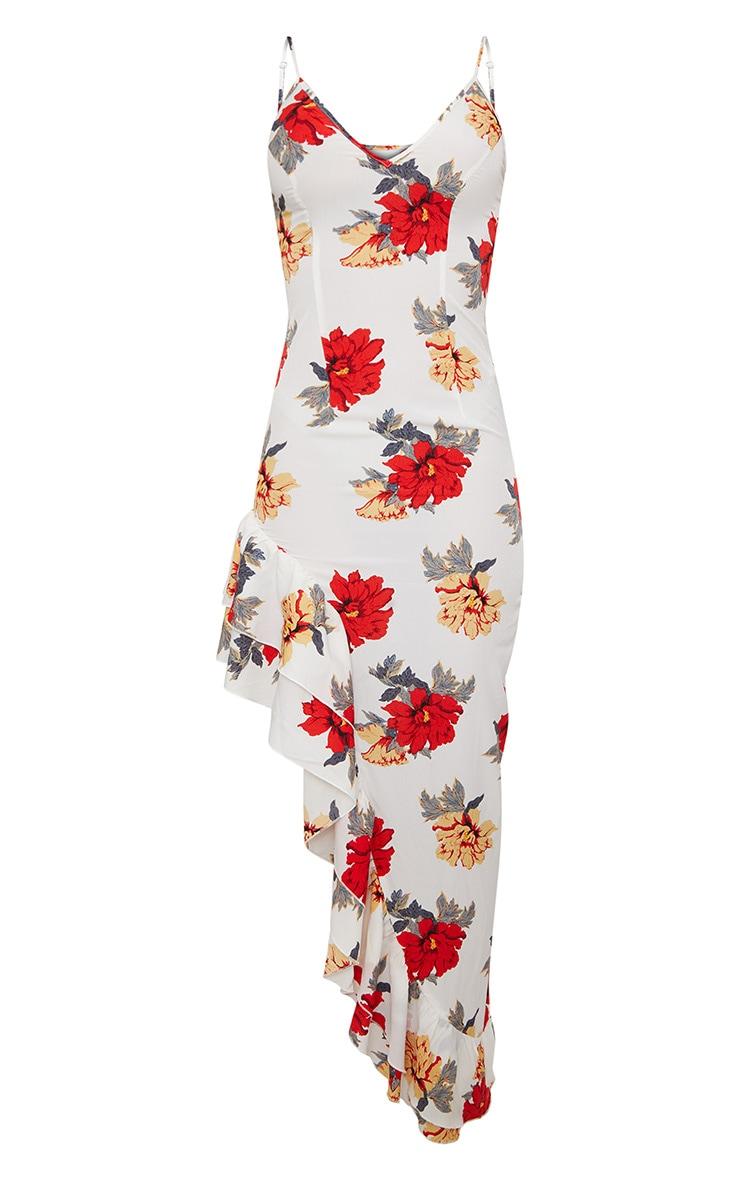 White Floral Strappy Asymmetric Maxi Dress 3