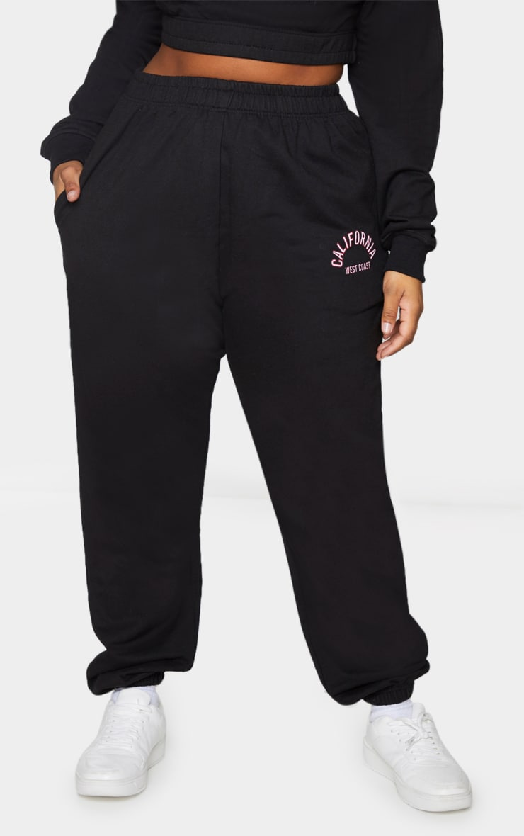 Plus Black California Print Joggers 2