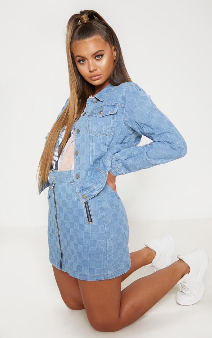Light Wash Checkerboard Embossed Zip Belted Denim Skirt 5