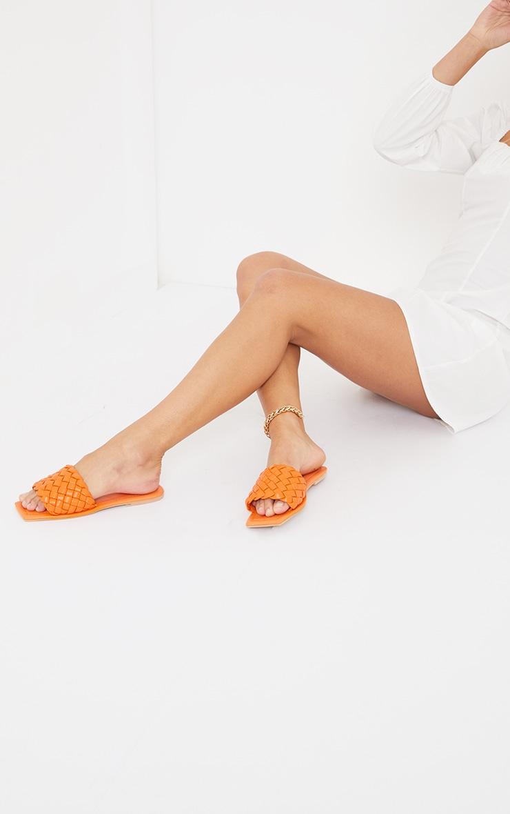 Burnt Orange Real Leather Square Toe Chunky Basket Weave Mule Sandals 2
