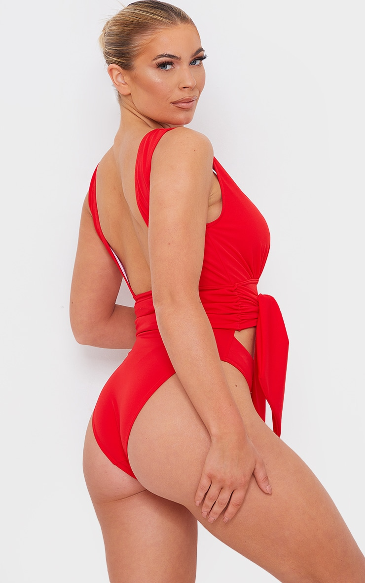 Red Cut Out Bow Tie Waist Swimsuit 2