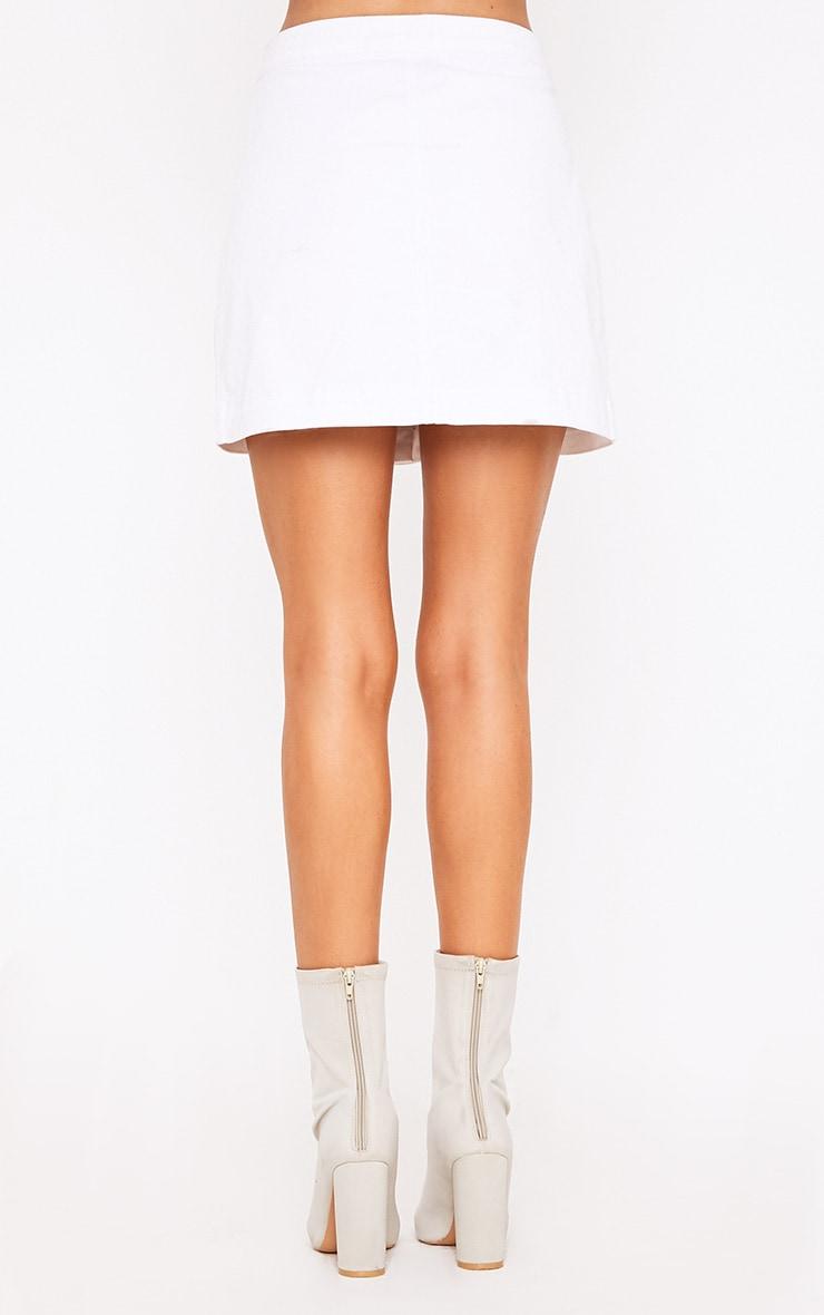Cammie minijupe en jean blanche  4