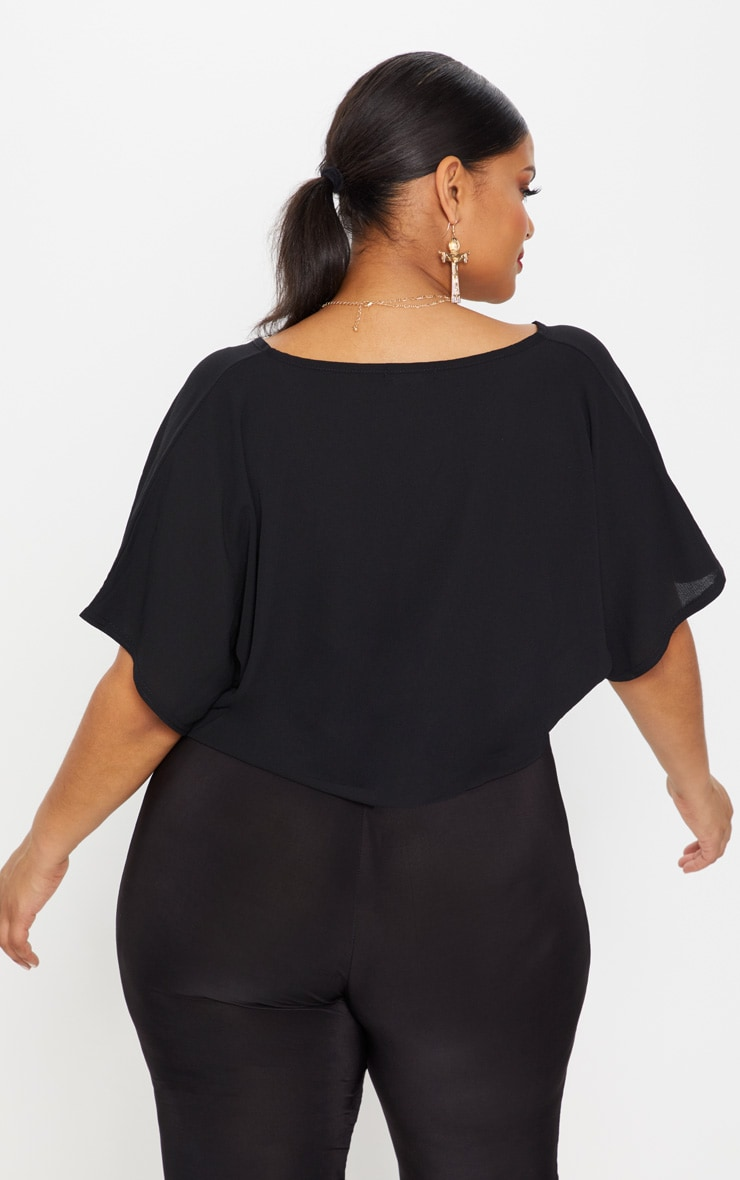 Plus Black Chiffon Knot Front Crop Blouse 2