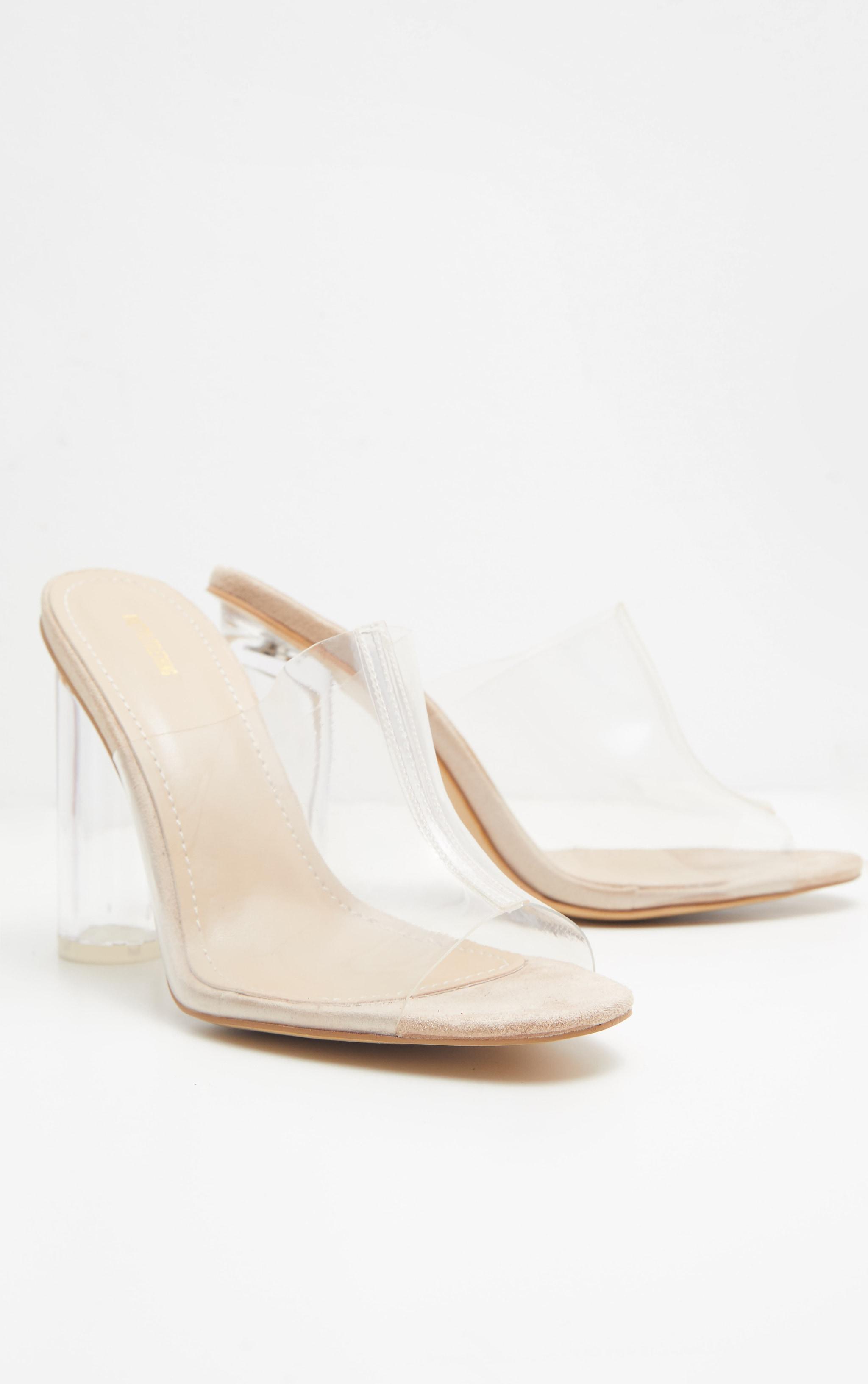 Nude Clear Block Heel Mule Sandal  3