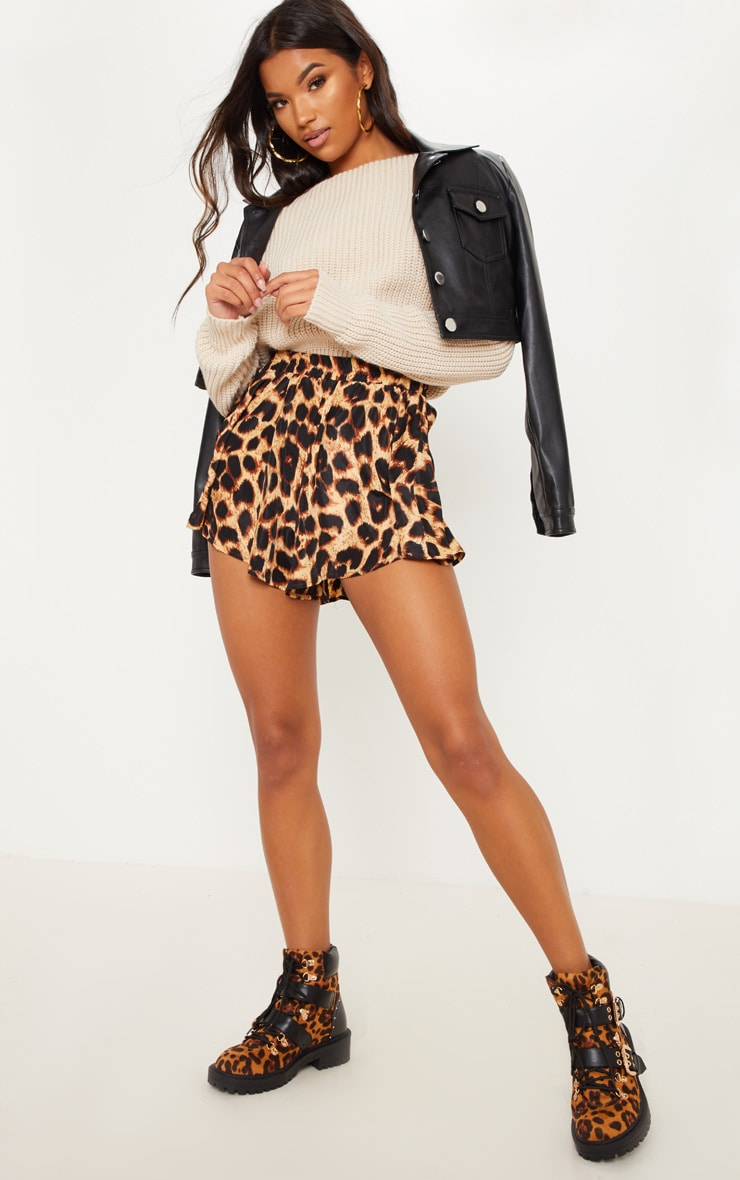 Lolita Brown Leopard Print Floaty Shorts 5