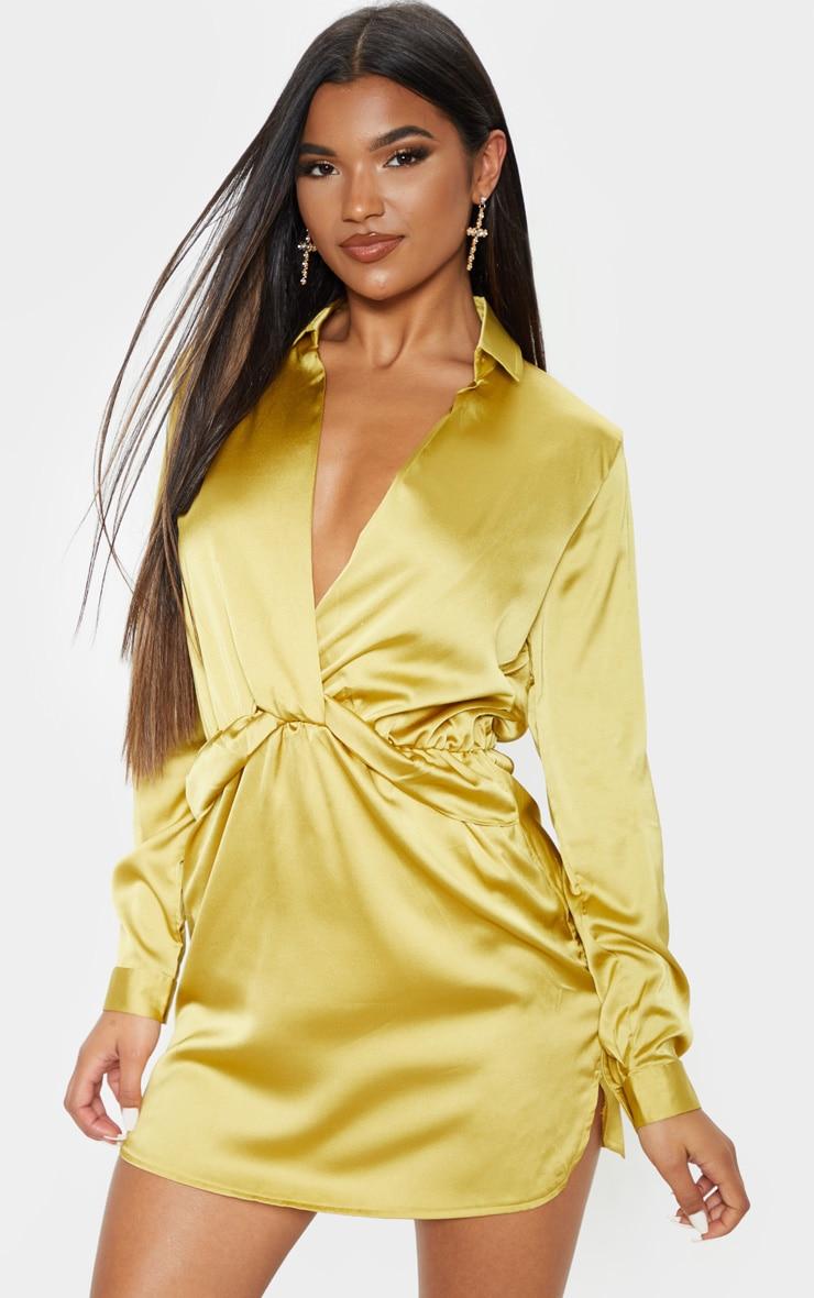 Robe chemise jaune citron satinée torsadée devant 1