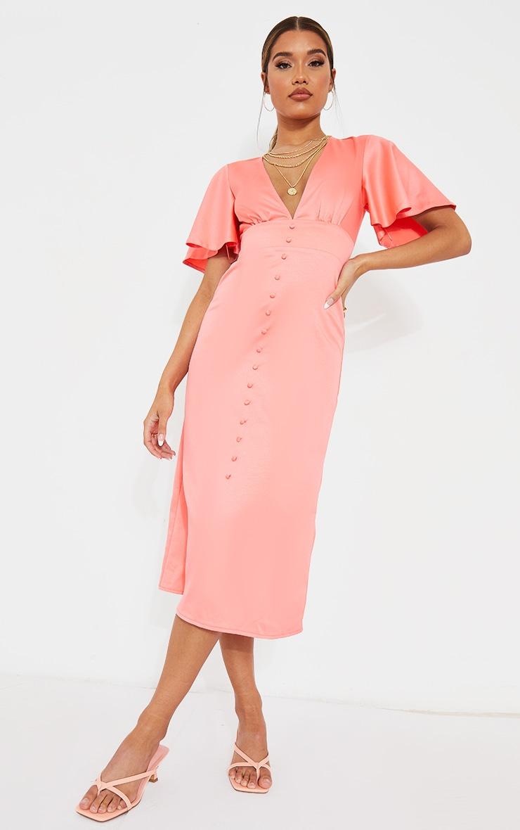 Pink Satin Plunge Button Detail Midi Dress 1