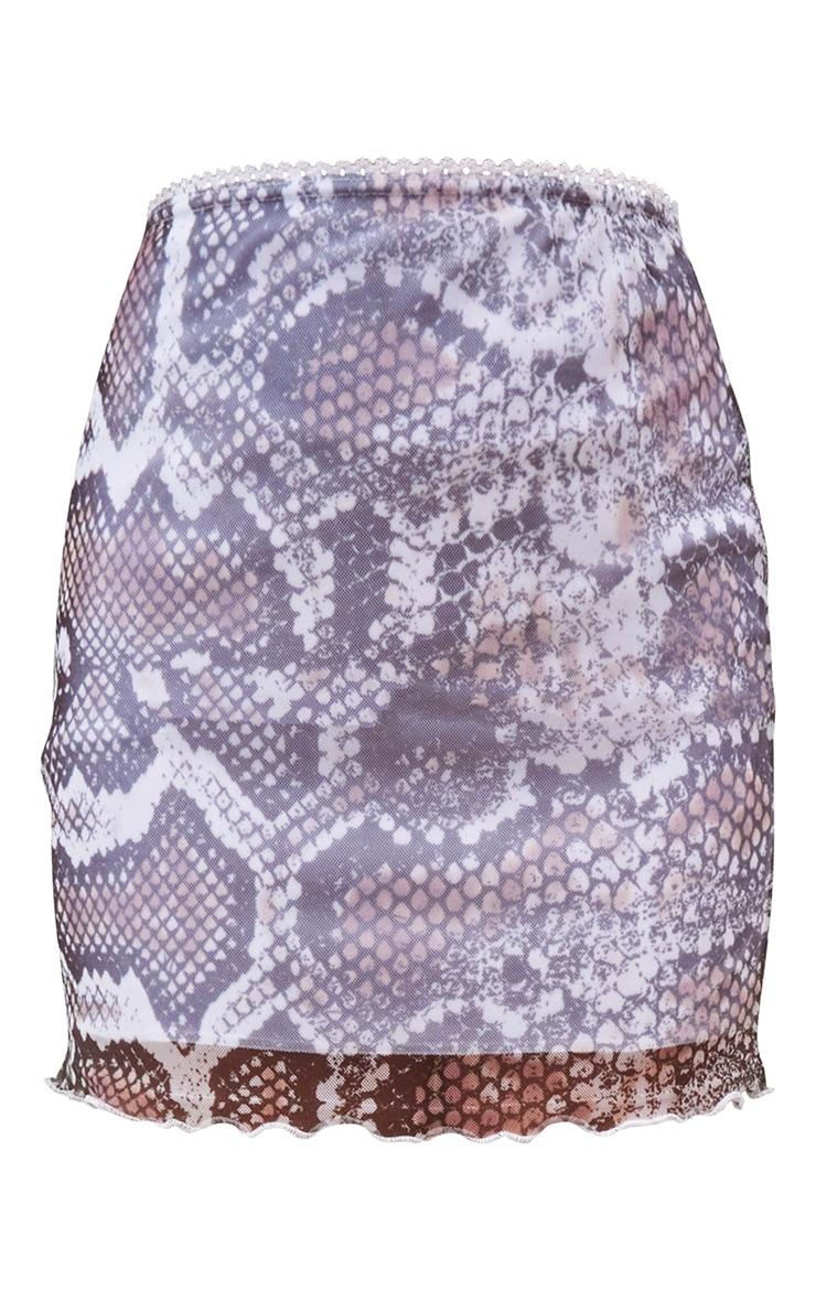 White Snake Print Mesh Lettuce Hem Skirt 6